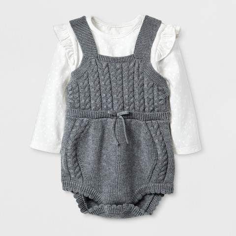 141507ba7686 Cat   Jack Baby Girls  2pc Bodysuit and Sweater Romper Set - Cat   Jack  Heather Gray  babygirl