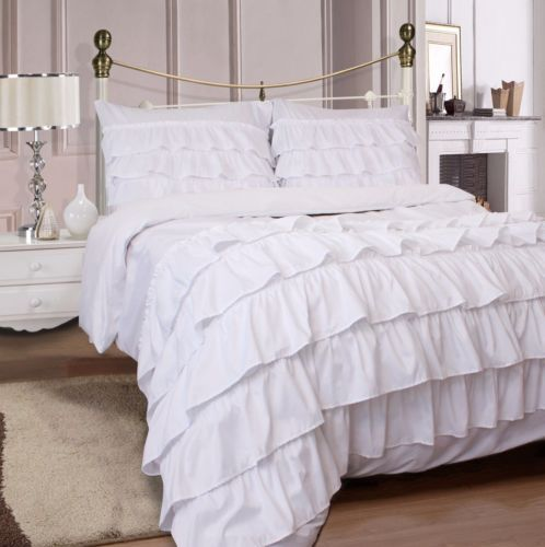 4Pc-Ruffles-Complete-Duvet-Cover-Bedding-Set-With-Fitted-Sheet-amp-Pillowcase