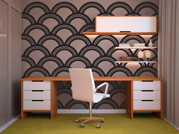 Art Deco Wallpaper Pattern - Wall Decal Custom Vinyl Art Stickers