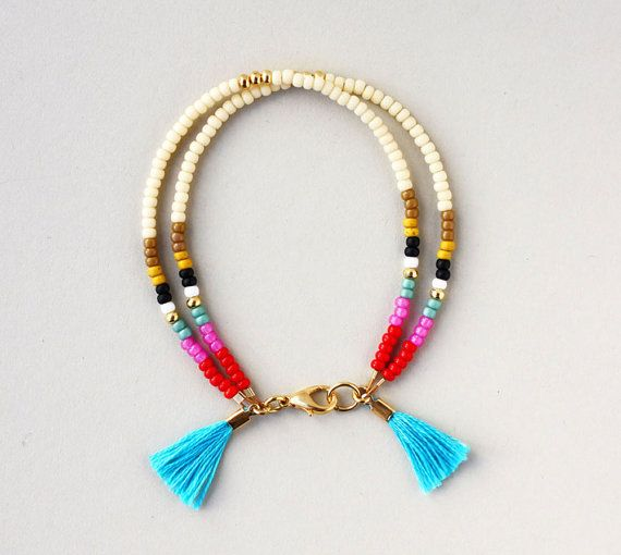 Beaded Bracelet - Southwestern Friendship Bracelet - Layering Bracelet - Tribal Bracelet with Tassel This listing is for ONE double strand