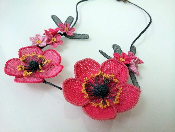 Pink Roses Flower Pendant Necklace SetPink by berratosun on Etsy, $105.00