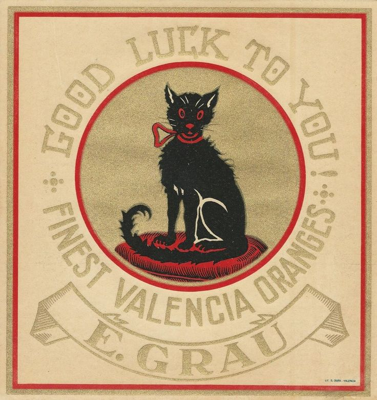 "RARE OLD ORIGINAL 1920 BLACK CAT ""GOOD LUCK TO YOU! BRAND"" SPANISH BOX LABEL ART"