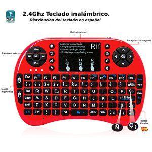 (Novedad 2015 con Luz de fondo) Rii mini i8 Mini teclado ergonómico con ratón tipo touchpad incorporado. Compatible con SmartTV Mini PC Android PS3 PS4 Xbox HTPC PC Raspberry Pi Kodi XBMC IPTV MacOS Linux y Windows XP/7/8/10 (Rii mini i8 Rojo)