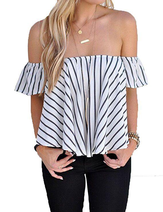 7262a1c6ad3db BOBIBI Women s Blouse Off Shoulder Striped Summer Casual Shirt Tops ...