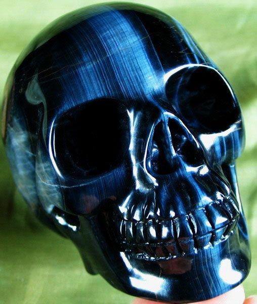 SKULLKRAFT.com Blue South African Tigers Eye Skull