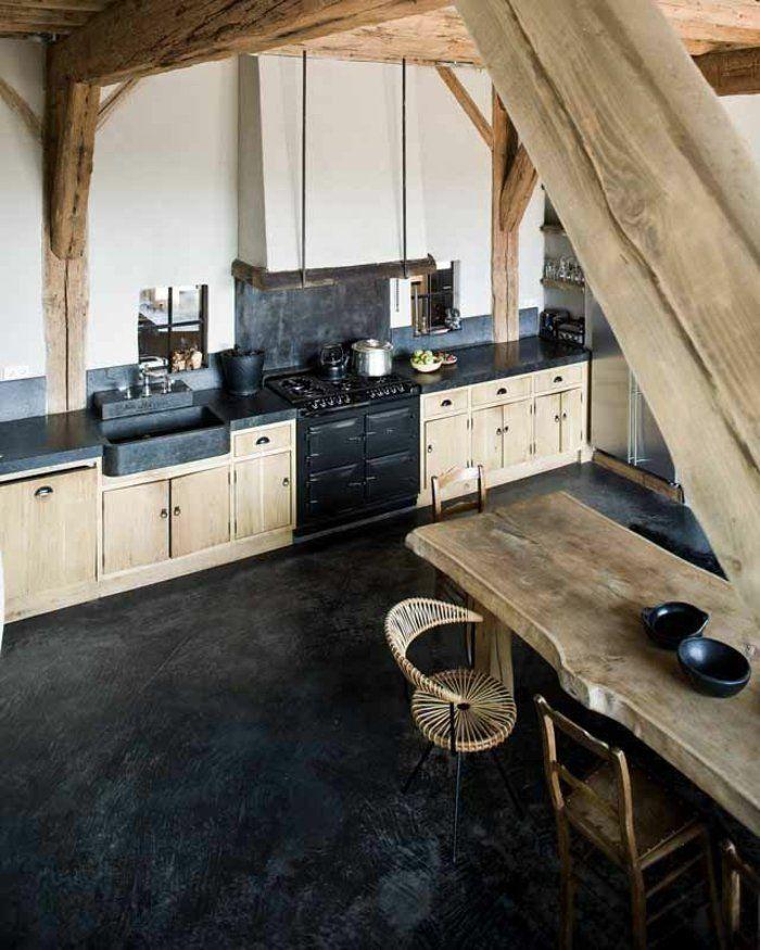 cuisine bois massif, plan de travail chene massif, meubles en bois clair