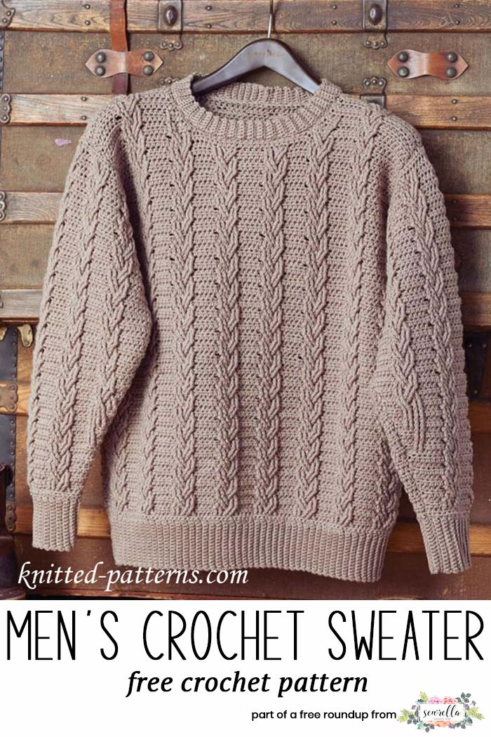 4089840c15c650 Get the free crochet pattern for this Crochet Mens Cabled Pullover Sweater  from Knitted Patterns featured in my husband-approved crochet sweaters for  men ...