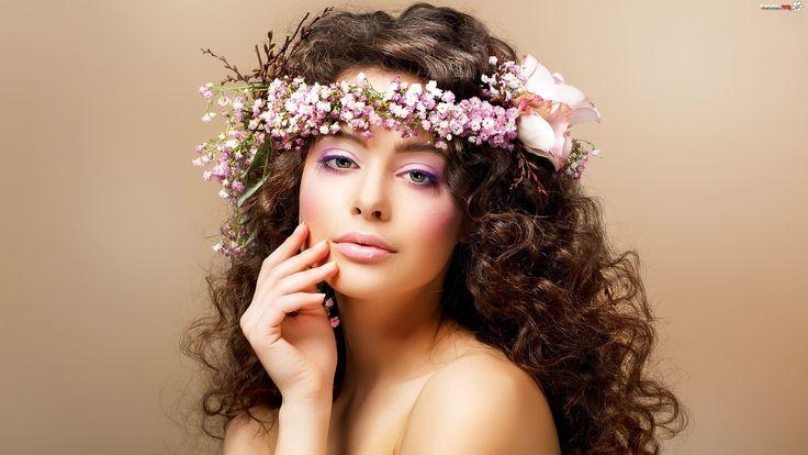 Kobieta, Makijaż, Kwiaty, Wianek - Zdjęcia