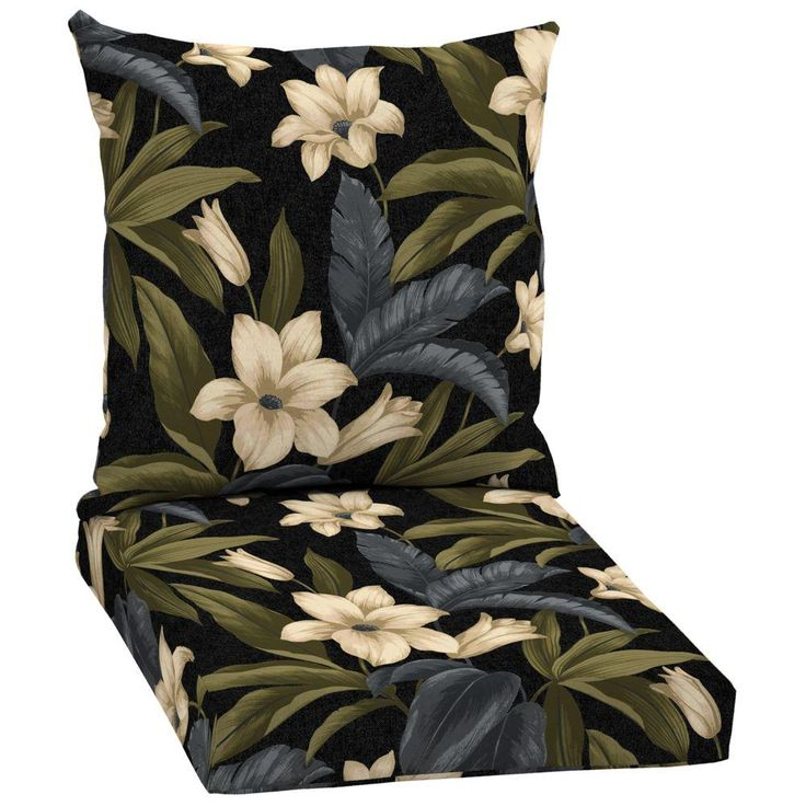 Hampton Bay Black Tropical Blossom 2-Piece Outdoor Dining Chair Cushion Set-JC19067B-D9D1 - The Home Depot