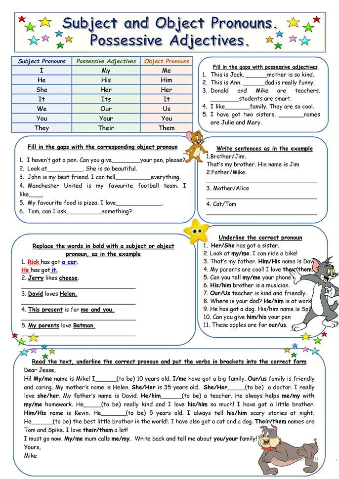 Subject And Object Pronouns Possessive Adjectives Possessive Adjectives Pronoun Worksheets Pronouns Exercises Subject object pronoun worksheets