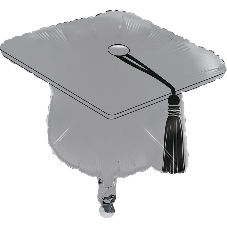 Silver Graduation Cap Mylar Balloon