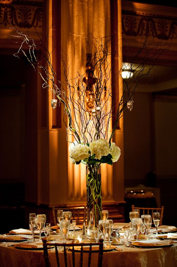 Tall centerpieces rustic and romantic white hydrangea for Twig centerpieces for weddings