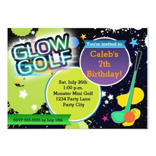 123 best golf birthday party invitations images on pinterest glow golf monster mini golfing party invitation stopboris Image collections
