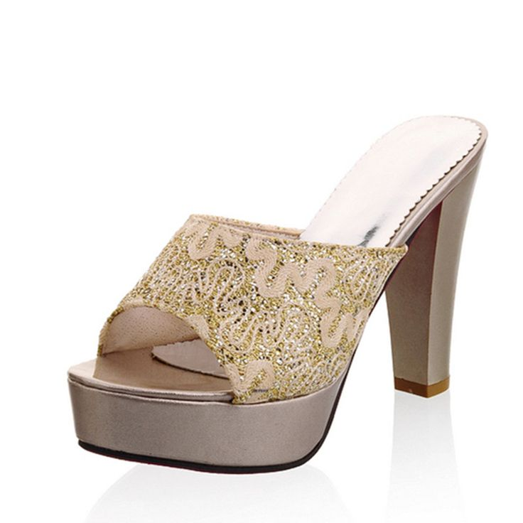 Women gold/silver slippers ladies evening party high heels sandals womens bling platfrom slides female step-toe pumps flip flops