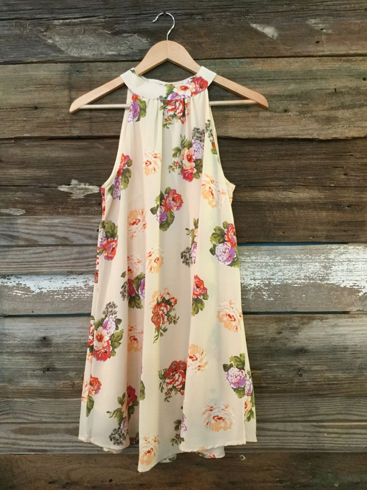Floral Dress with High Neck, Cream