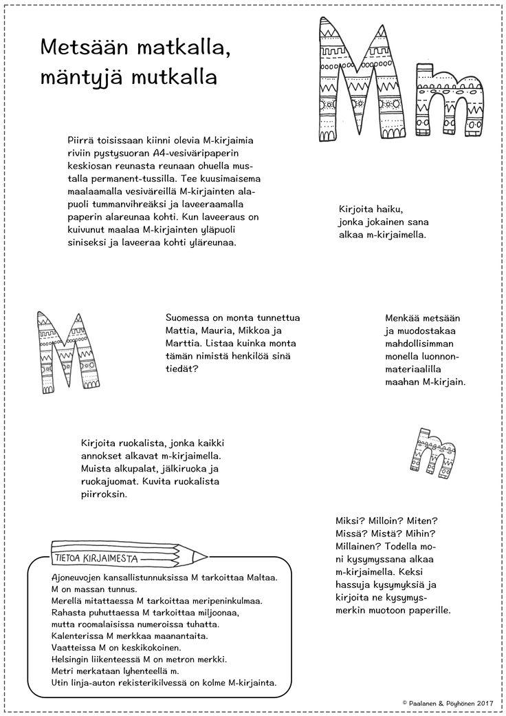 M-kirjain tehtävät, äidinkieli, kuvis, ympäristöoppi