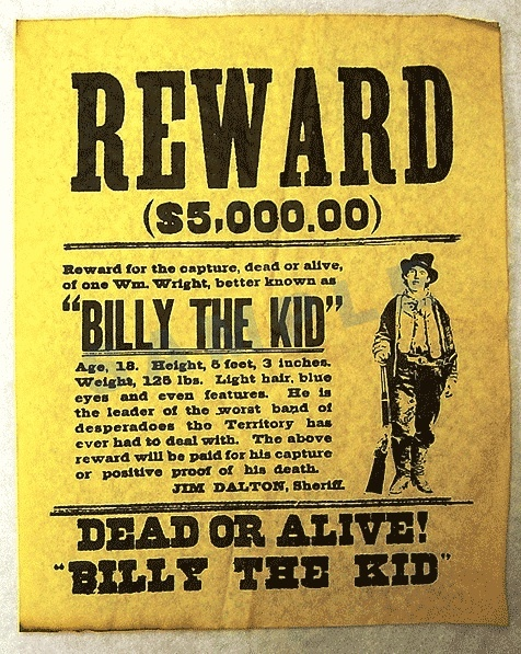 Wanted Poster for Billy the Kid