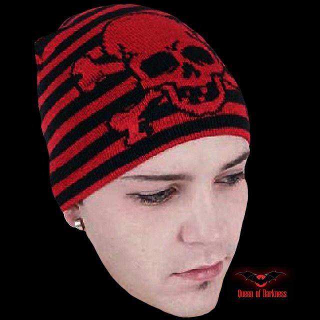 Bonnet 'Skull & Red Stripes'