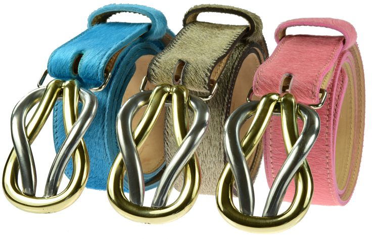 Detachable Reef Knot buckles £55 on turquoise, brindle and pink cowhide belts £75