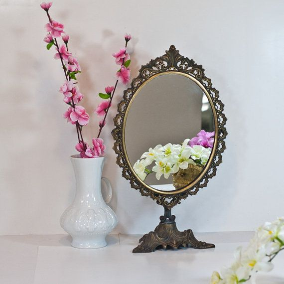 table mirror makeup mirror on stand vintage victorian brass oval mirror large vanity dressing. Black Bedroom Furniture Sets. Home Design Ideas