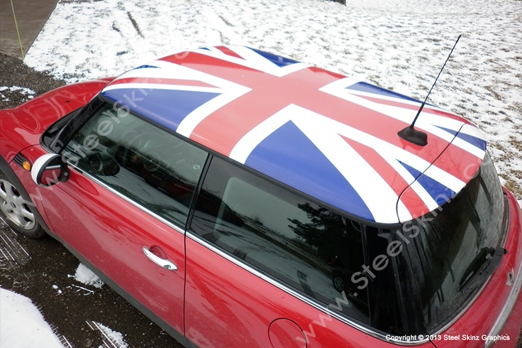 mini cooper union jack roof wrap by steel skinz graphics. Black Bedroom Furniture Sets. Home Design Ideas