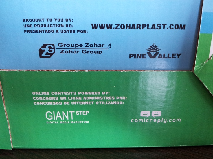back of the scoopy box - credits to zohar group, giant step, comic reply