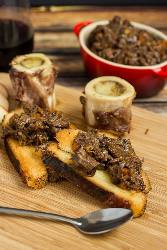 Roasted Bone Marrow with Oxtail Marmalade from The Girl In The Little Red Kitchen