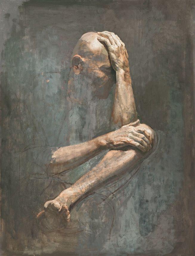 Der bosnische Maler Safet Zec bei der Hospizgräfin. – Kunst Bilder Acryl