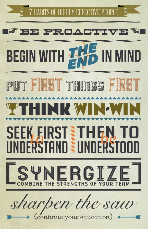 """Based on the incredible Dr. Stephen Covey's book """"The 7 Habits of Highly Effective People"""" and Inspired by Francesca Ramos' """"Gandhi's Top 10 Fundamentals for Changing the World"""" Typographic Poster. Free download."""
