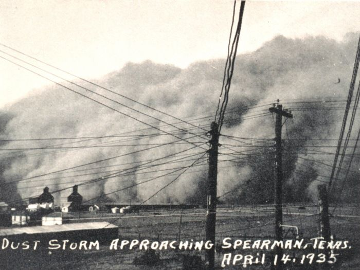 """A dust storm approaching Spearman, Texas, April 14, 1935    In: """"Monthly Weather Review,"""" Volume 63, April 1935, p. 148.  Credit:  NOAA's  NWS Collection"""