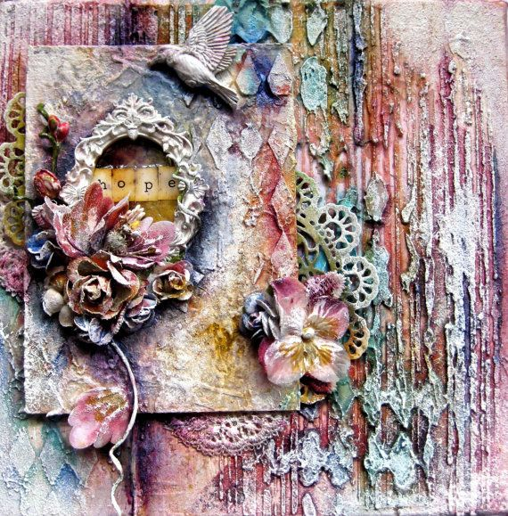 Mixed Media Canvas   HOPE by Paintingmydreams on Etsy