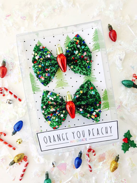 Christmas Light Hair Bow Holiday glitter bows by OrangeYouPeachy