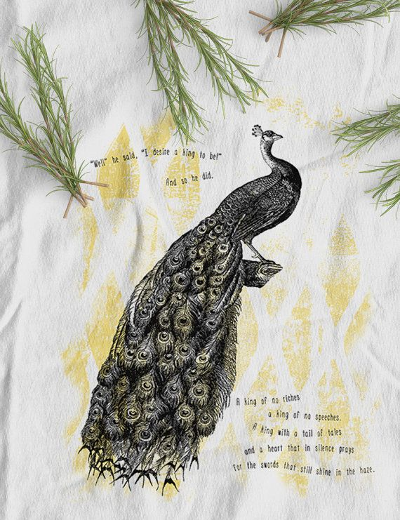 Peacock King Organic Fairtrade t-shirt | women's tops | white  www.kunda.gr #tshirts #organictshirts #fairtrade #organiccotton #etsy #etsygreekstreetteam #ethicalfashion  #EtsyGifts #inspiring #peacocks #birds #kings #illustration #design #poem