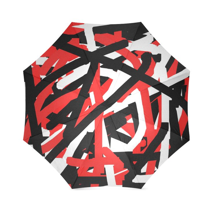 Red Black and White Graffiti Foldable Umbrella