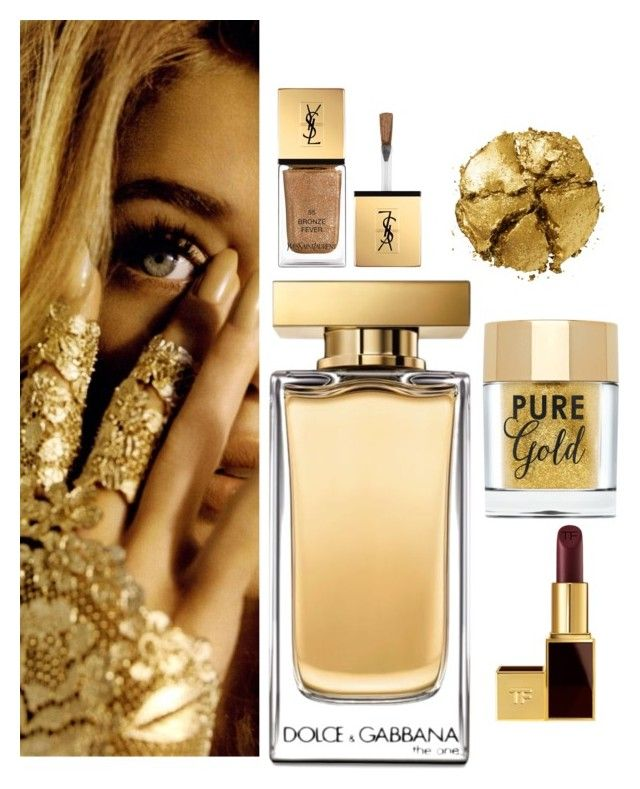 """""""#goldbeauty"""" by luisa-fernanda-staernes-sommerfelt ❤ liked on Polyvore featuring beauty, Yves Saint Laurent, Dolce&Gabbana, Tom Ford and Pat McGrath"""
