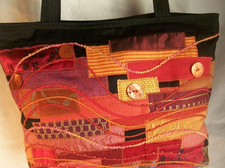 Image Detail for - bold reds - textile art handbag - Fiber Arts/Mixed Media