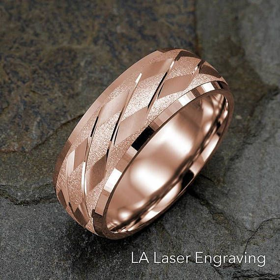 Mens Wedding Band, 14K Rose Gold Ring, Diagonals Design, Solid Gold Wedding Ring, 14K Solid Gold Gold: 12.2g Ring Width: 8mm Ring is Not Resizable Sizes: 4 4.5 5 5.5 6 6.5 7 7.5 8 8.5 9 9.5 10 10.5 11 11.5 12 12.5 13 13.5 14 Free Laser Engraving : ^^ How to order your Custom #platinumjewelry