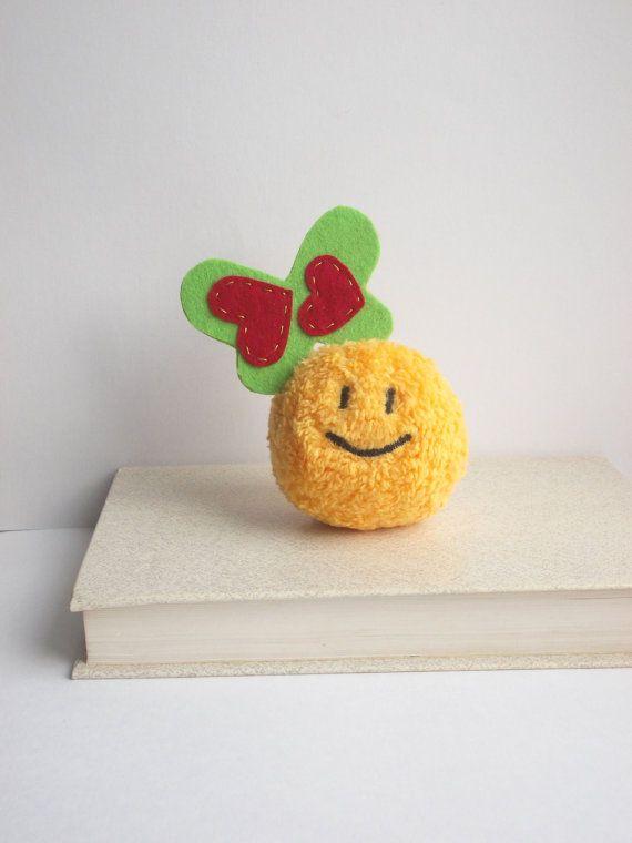 Tiny Smiley face emoji happy face heart toy by PillowsRollanda #heart #gift #love
