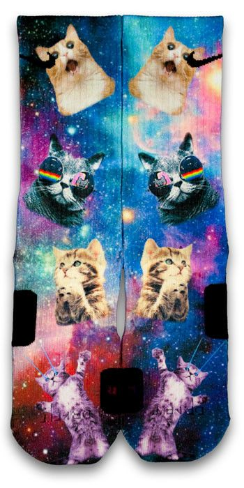 Space kitten Custom Elite Socks i think i might get these for you cause youre a cat @kittystinnett