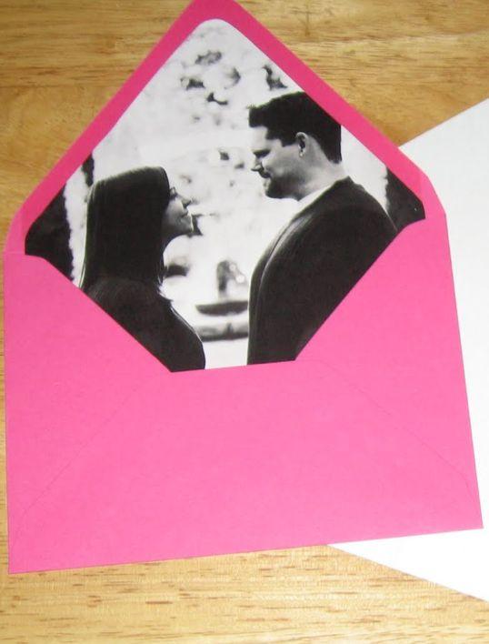 diy wedding invitation envelope photo insert... cute