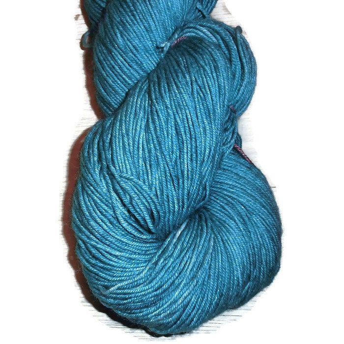 Teal Superwash Merino Fingering Yarn - Teal Hand Dyed Yarn - Teal Fingering Weight Merino Yarn - Dark Bluegreen Sock Weight 4 Ply Yarn