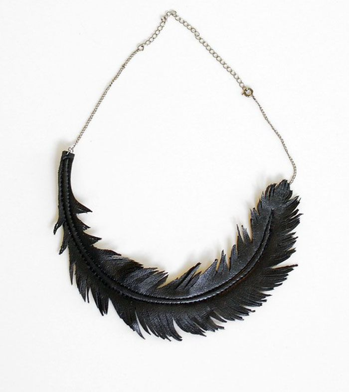 feather leather necklace