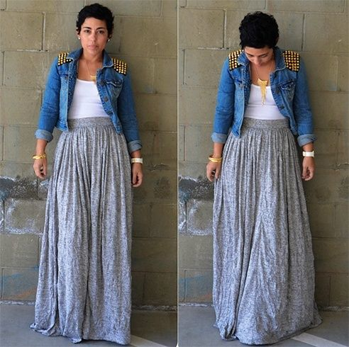 Love this skirt! This is a pretty standard summer outfit for me. I already have a crop jean jacket to go with it.