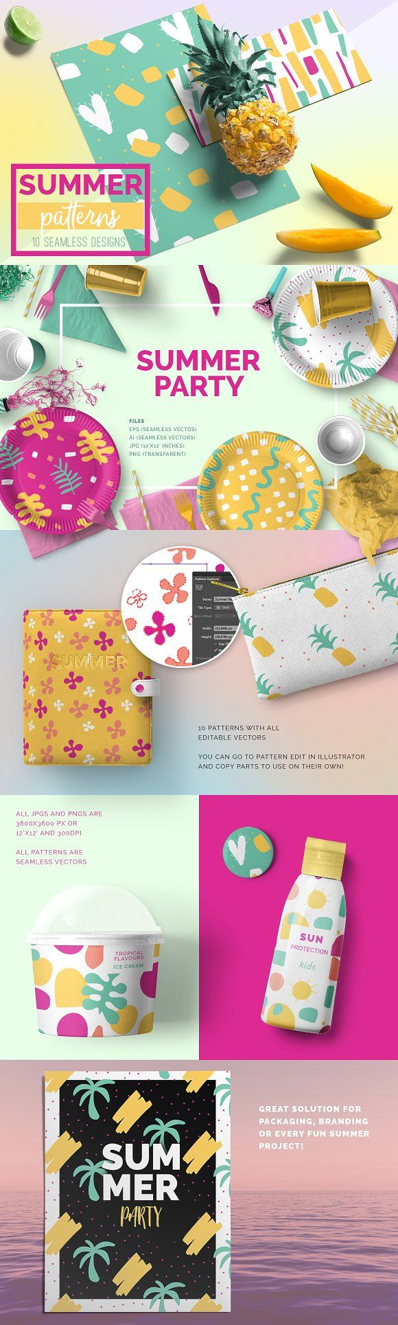 Summer Seamless Patterns by Youandigraphics on @creativemarket