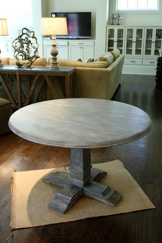 How to grey wash. -This wasn't really a tutorial but she gave the paint colors that she used to do this. I sanded my table, added a dark stain in random places then used the paint and glaze that she did. I made mine a little more rustic and I adore how it turned out! I also have a round table that is similar to this.