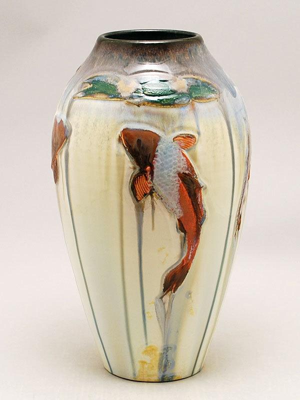 Carved koi fish vase on white crystalline porcelain by for Koi fish vase