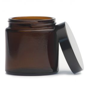 Słoik szklany brązowy 120 ml z czarną zakrętką - ECOSPA.pl