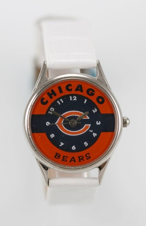Relic Watch Womens Chicago Bears Logo Stainless Silver White Leather Quartz