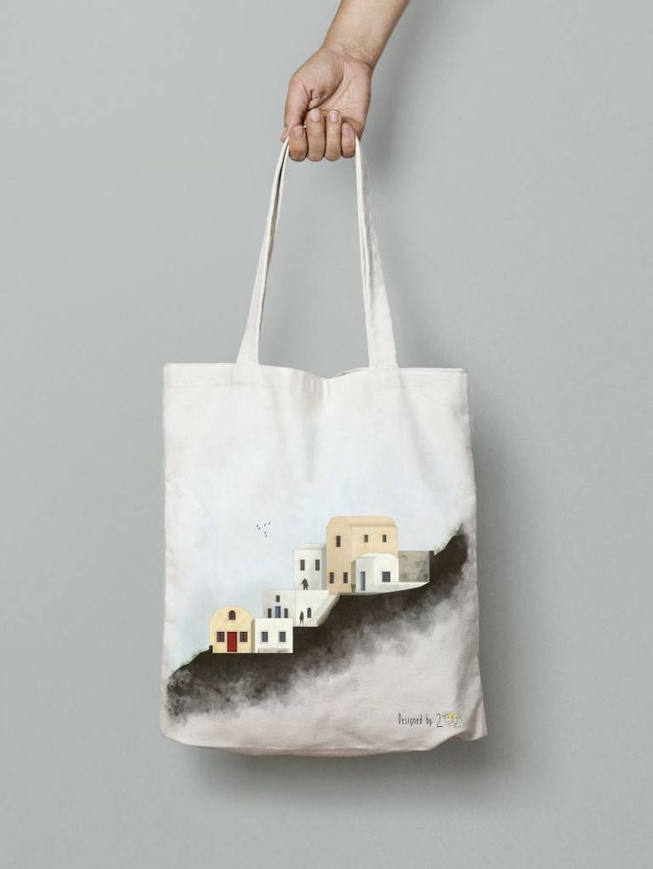 Santorini art Tote bag canvas Tote bag art Greece tote