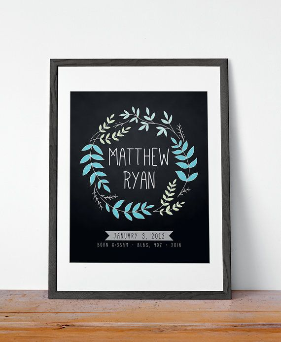 Chalkboard Wreath Birth Stats / Birth Announcement Print - Custom Colors  Size - Download / Printable / DIY